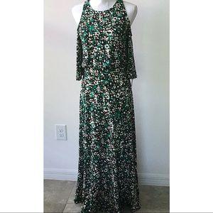Ellen Tracy Cold Shoulder Maxi Dress Green S